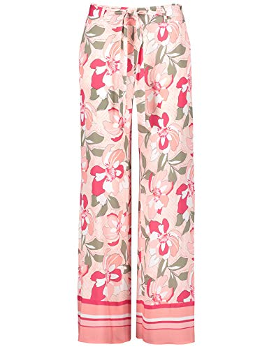 Taifun Damen Palazzohose Wide Leg High Lässige Passform Apricot Blush Gemustert 46
