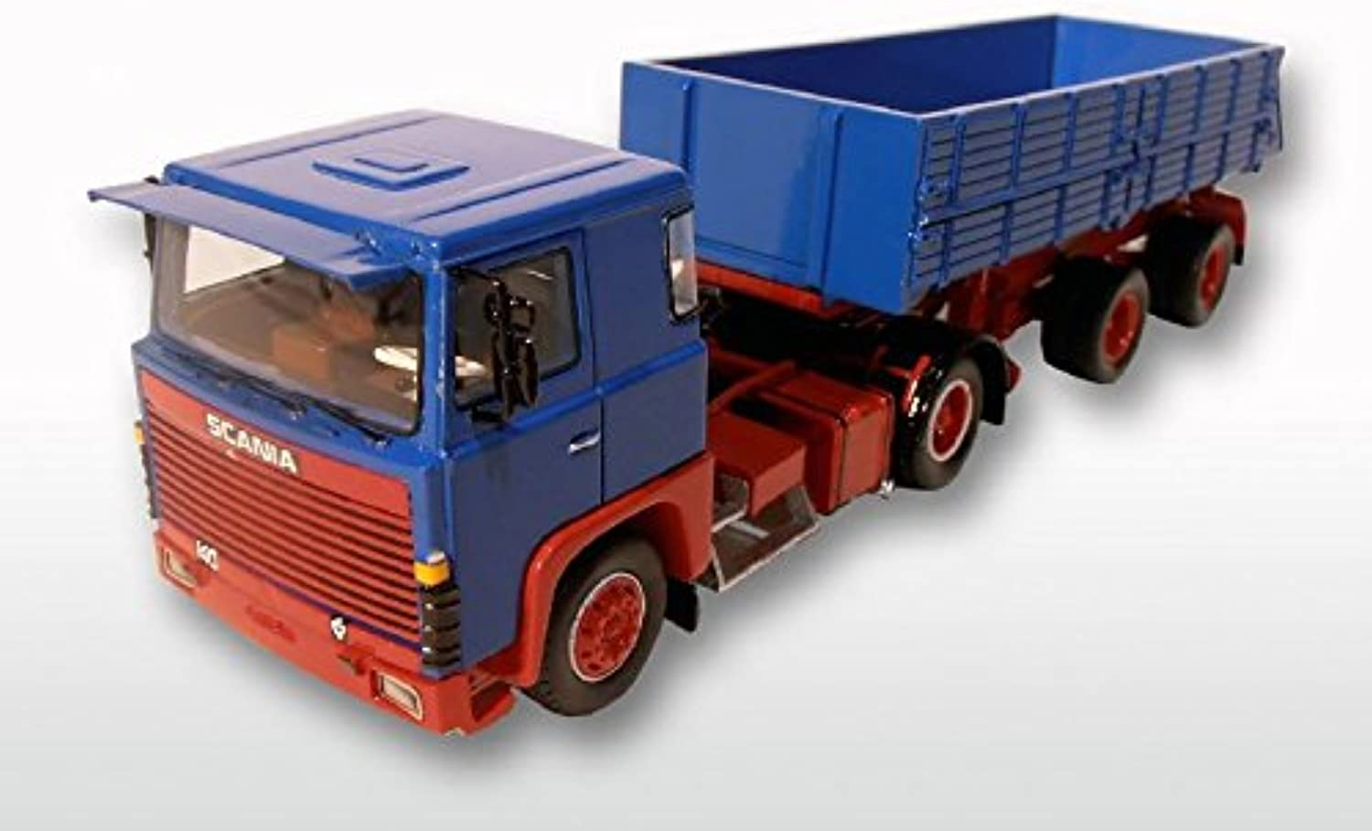 GMTS - G0004741 - Scania S 0 4x2 tipper trailer 1 50, bluee   red, limited Resinmodel