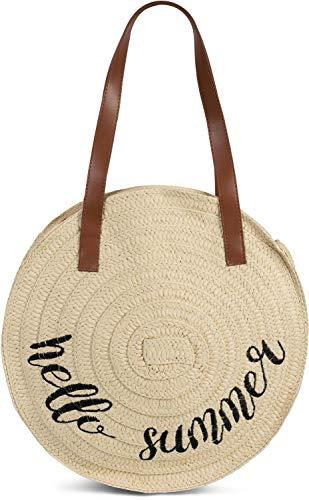 styleBREAKER Damen runde Korbtasche mit gesticktem 'Hello Summer' Spruch und Reißverschluss, Strandtasche geflochten, Schultertasche 02012288, Farbe:Beige