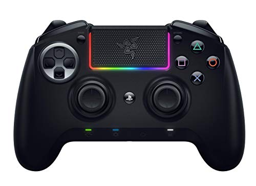 Razer Raiju Ultimate 2019 - Kabelloser und kabelgebundener PS4/PC Gaming-Controller mit Mecha-Tactile Action-Buttons, austauschbaren Komponenten, Schnell-Bedienfeld und Chroma RGB-Beleuchtung, Schwarz