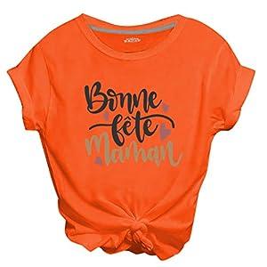 ZHANSANFM Damen T-Shirts Bauchfrei Oberteile Teenager Mädchen T-Shirts Kurzarm Rundhals Tops Bonne lete maman Bedruckte Tshirts (3XL, Orange)