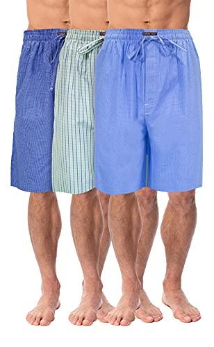Andrew Scott Men's Soft Poplin Woven Pajama & Sleep Jam Cargo Short Lounge Pants | Multi Packs (Large, 3 Pack -Blue Tone Plaids)