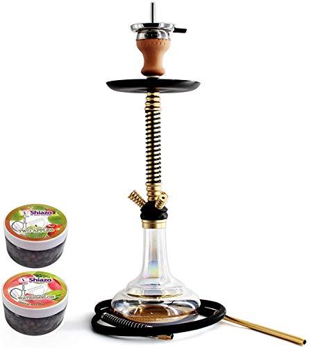 Kertou Shisha Hookah Cachimba Narguile Aluminio agua tubo vidrio fumar 66 cm...