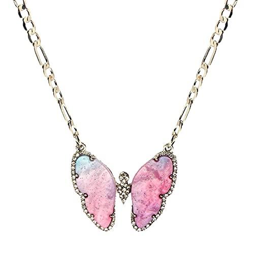 ZYLL Mariposa Brillante Collares Pendientes de Cristal para Mujer Nuevo diseño Oro Plata Color Collar Moda Joyería Fiesta Regalo del día de la Madre