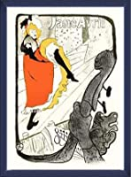 ポスター アンリ ド トゥールーズ ロートレック Jane Avril 額装品 ウッドベーシックフレーム(ブルー)