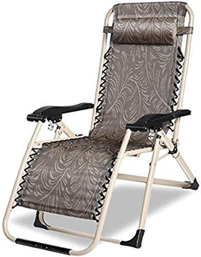 Sun Lounger Folding Seat In Zero Gravity Garden - Rocking Chair With Garden Bed Suitable For Porch Portable Camping License Plate Holder Portable Chair Support 200 Kg ( Color : Brown Without Pad )