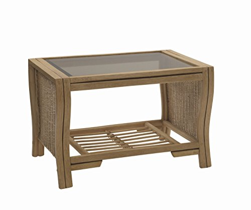 Desser Opera Coffee Table with Storage Shelf – Glass Top Table with Light Oak Wicker Rattan Cane Pole Frame Indoor Conservatory or Living Room Furniture - H49cm x W72cm x D52cm