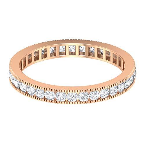 Milgrain Anillo de boda, Anillo de eternidad antiguo, HI-SI 0.87 ct anillo de diamante redondo, anillo de declaración de novia, anillo de dama de honor, 18K Oro rosa, Size:EU 65