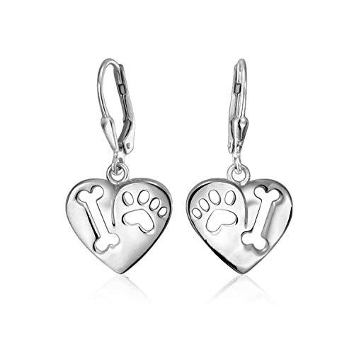 Me encanta mi forma de corazón de perro cortado cachorro animal animal animal amante pata impresión gota Leverback pendientes para las mujeres 925 plata de ley