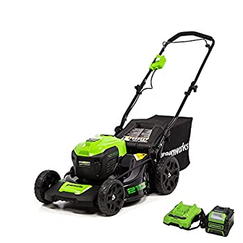 Greenworks 40V 21inch Cordless Brushless Lawn Mower 5Ah Battery & Charger Included LMF402