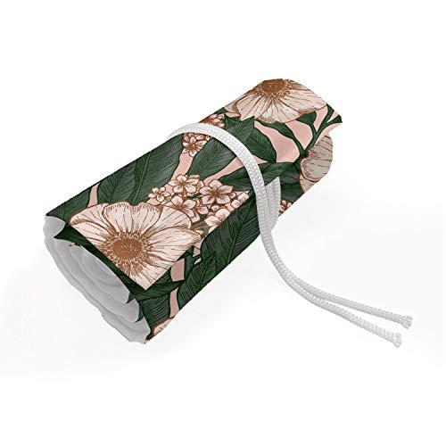 ABAKUHAUS Bloemen Etui met Rolomslag voor Pennen, Pinkish Anemone Plant, Duurzame & Draagbare Potloodetui, 72 Vakjes, Veelkleurig