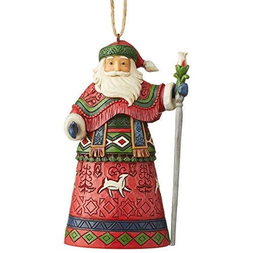 Jim Shore Heartwood Creek Sospensione Babbo Natale Lappone con Bastone, 12 cm