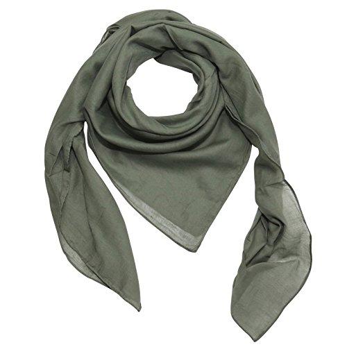 Superfreak® Baumwolltuch - Tuch - Schal - 100x100 cm - 100% Baumwolle Farbe grün - Khaki