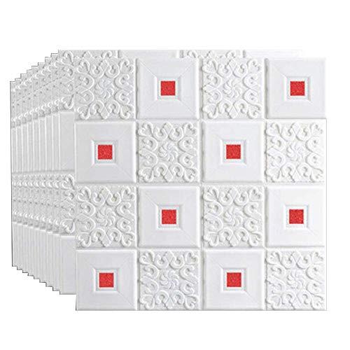 ZXCAM 3D Wand-Verkleidungen, Wandaufkleber Stereo Wandtattoo Papier Abnehmbare selbstklebend Tapete DIY Selbstklebendes für Schlafzimmer Wohnzimmer Moderne Hintergrund TV-Decor 70x70cm (10 Stück)