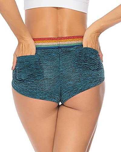 STARBILD Pantaloncini Donna Sportivi Mini Shorts Sport Sexy Push Up con Tasche Estivi Leggings Corti Pantaloni Corta Estate Spiaggia Yoga Pilates Palestra Jogging, C-Blu L