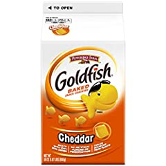 INCLUDES: Two 30-ounce boxes of Goldfish Cheddar crackers BAKED WITH REAL CHEESE: Always made with 100% real cheddar cheese and no artificial flavors or preservatives ALWAYS BAKED, NEVER FRIED: Keep Goldfish crackers on hand for anytime snacking good...