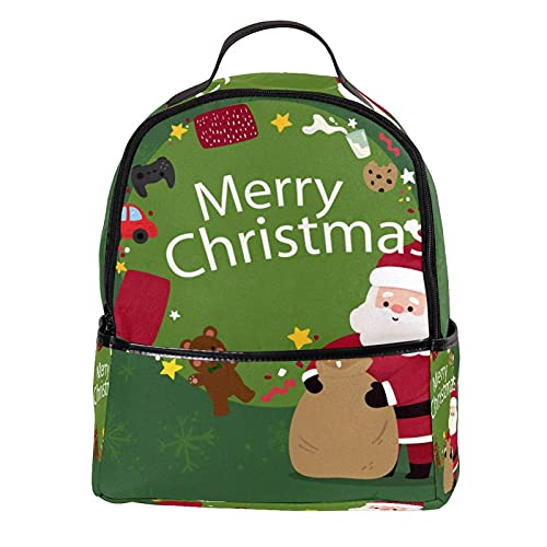 KAMEARI Mochila para la escuela Merry Christmasd Casual Daypack para viajes con bolsillos laterales para botella