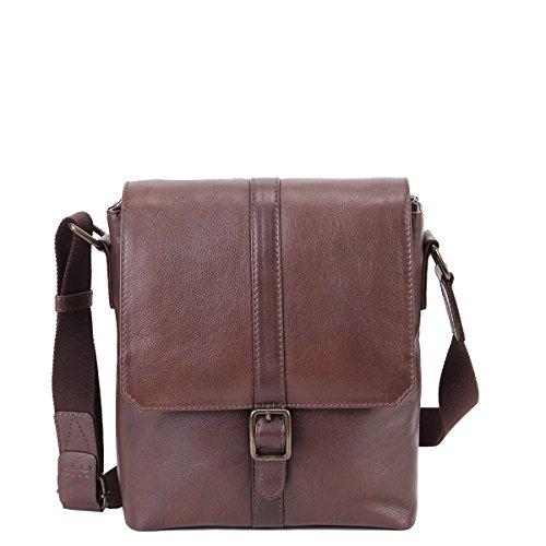 Zoomlite Aiden Tablet Messenger Bag Echtes Leder Braun Small