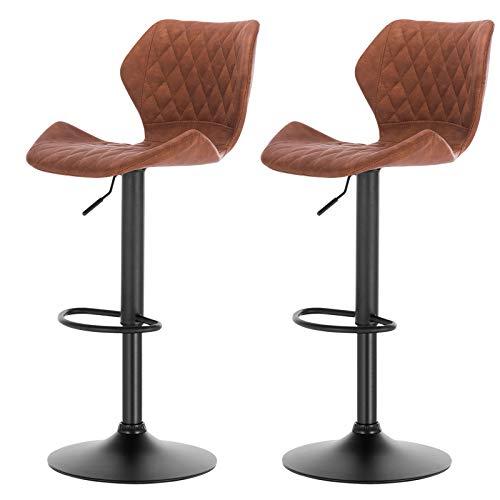 eSituro SBST0287 2 x Barhocker Küchenstuhl Barstuhl, höhenverstellbar & 360° drehbar, 2er Set Bar Hocker aus hochwertigem Kunstleder(Antiklederoptik), Braun