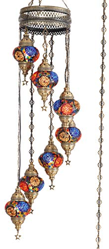 (10 Colors) 7 Globes Swag Plug in Turkish Moroccan Mosaic Bohemian Tiffany Ceiling Hanging Pendant Light Lamp Chandelier Lighting with 15feet Cord Chain US Plug, 50' Height (TopMix)