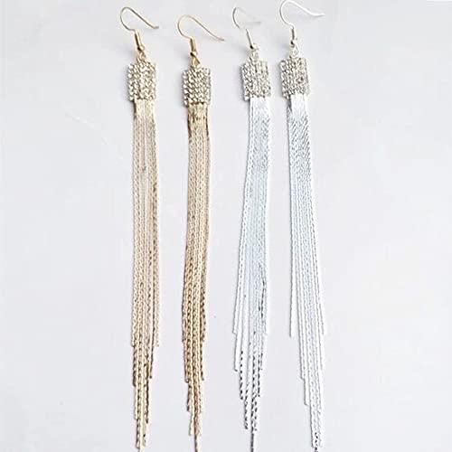 Pendientes de mujer elegantes Pendientes borla largos para mujeres y niñas 2 pares (oro, plata)
