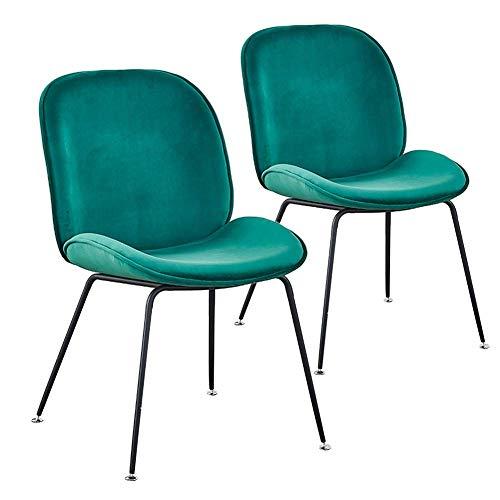 GDSKL Silla Silla de Comedor de Metal, Sillón de Salón de Algodón Estilo Nórdico Interior/Exterior Sala de Estar Dormitorio Muebles de Cocina con Respaldo Juego de 2 Piezas,Verde
