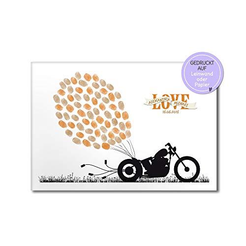 Motorrad Biker Wedding-tree, Fingerabdruck-bild Leinwand zur Hochzeit, Gästebuch-idee, Luftballone