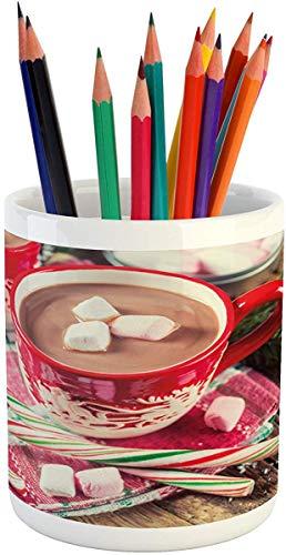 Koffie Mok 11 oz Thee Beker, Kerst Potlood Pen Houder, Blurred Backdrop Foto van Hete Chocolade in Mokken met Marshmallows Candies, Bedrukte Keramische Potlood Pen Houder voor Bureau Office Accessoire, Multi kleuren