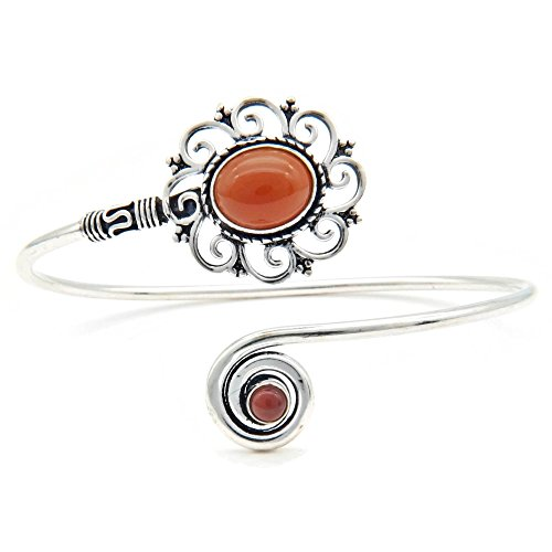 mantraroma Armreif Armband versilbert silbern Karneol orange rot (922-05-025-16)