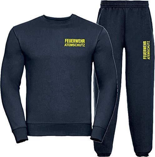 Sweat-Jogginganzug Navy, Feuerwehr ATEMSCHUTZ Neongelb L