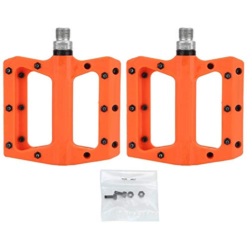 DAUERHAFT Plástico de Nailon de Alta Resistencia Antideslizante 1 par de Pedales de Plataforma de Ciclo de Ciclismo, para MTB BMX Mountain Road Bike Mejora la Comodidad de(Orange)