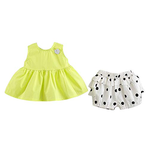 Hopscotch Baby Girls Cotton Solid Sleeveless Art Dress and Shorts Set in Yellow Color for Ages 18-24 Months