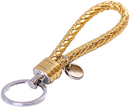 Stylisher Schlüsselanhänger geflochtenes Kunstleder, Farbe: Gold, Länge: ca. 13,5cm für z.B. Autoschlüssel, Wohnungsschlüssel etc.