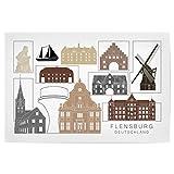 artboxONE Poster 90x60 cm Städte Flensburg Skyline Black &