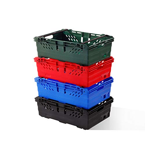 10x 35 Litre Stacking & Nesting Crate Ventilated Crate/Supermarket Storage (600x400x199mm) (Green)