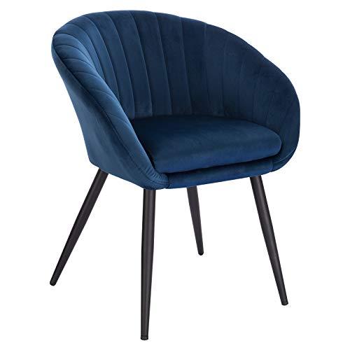 WOLTU 1 pièce Chaise de Salle à Manger rembourrée en Velours Pieds en métal,Chaise de réception Couleur Bleu BH244bl-1