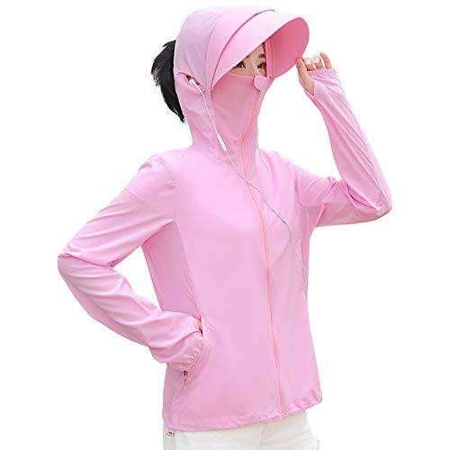 ラッシュガード、パーカー、レディース、UPF50、日焼け防止、紫外線対策、UVプロテクション、花粉塵防止、アウトドア、スポーツ、マスク付き、ポケット付き、長袖 (薄ピンク, M)