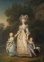 Adolf Ulrik Wertmuller ジクレー キャンバスに印刷 -有名な絵画 美術品 ポスター-再生 壁の装飾(フランスの女王マリーアントワネットとトリアノンの公園を歩く2人の子供) #XFB