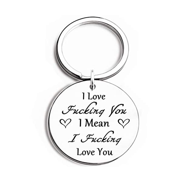 Couple Keychain Gifts for Husband Wife Boyfriend Girlfriend Key Tags for Valentine Birthday Anniversary Wedding Day Gifts Engraved I Love You Jewelry Gifts for Her Him, Silver, Small