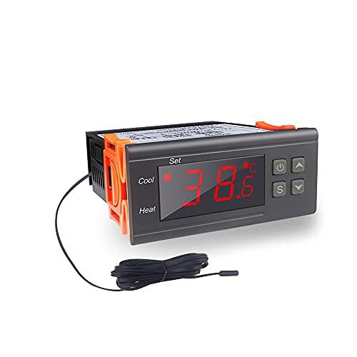 KETOTEK Controlador de Temperatura Digital, STC-1000 Termostato AC 220V 10A Calefacción y Refrigeración con Impermeable Sonda, LCD...