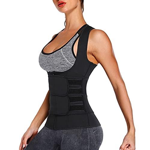 Ropa de sauna doble ajustable, resistente con cinturón de neopreno, chaleco deportivo para mujer, sauna, para pérdida de peso, sauna, sudor, entrenamiento, entrenamiento (color: negro, tamaño: 3XL)