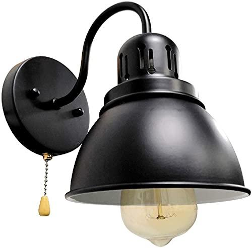 Busica Lampara De Mesilla Industrial Aplique De Pared Metal Negro E27 Luz De Pared Vintage con Interruptor De Tracción,