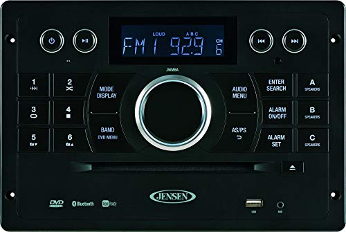 Jensen JWM6A DVD|USB|AUX|HDMI| Wallmount Stereo with App Control (jControl), Bluetooth A2DP AVRCP Streaming Audio, Compatible with iPod iPhone Control & Charging, DVD CD-R RW MP3, 12V DC (Renewed)