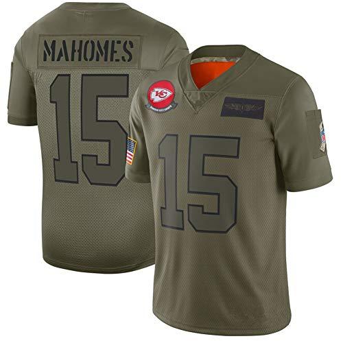 # 15 Jersey de fútbol Americano Patrick Mahomes, Camiseta de Rugby para Hombre Kansas City Chiefs Classic, Ideal para Usar Todos los días y Jugar Rugby disponible-ArmyGreen-3XL(195cm+)
