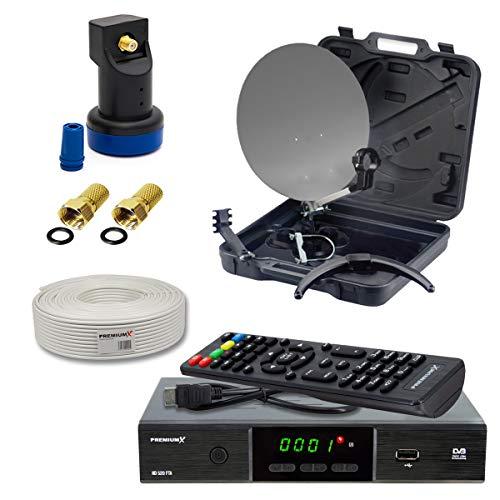 PremiumX Mobile Camping SAT-Antenne im Koffer Single LED LNB 10m Koaxial Kabel F-Stecker DVB-S2 Satelliten Receiver FullHD
