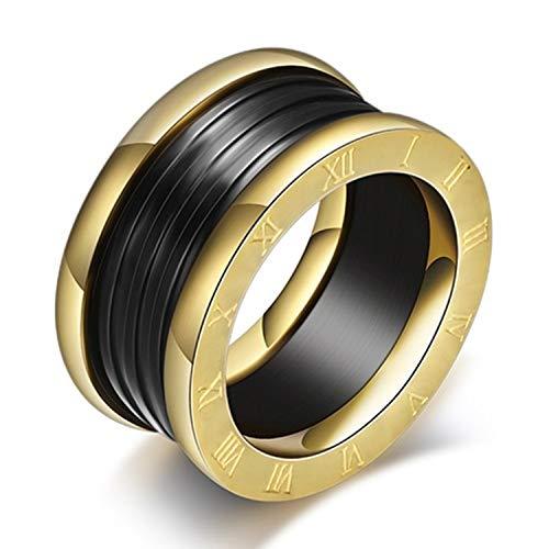 Anello in acciaio e titanio smaltato nero con numeri romani dorati. e Acciaio inossidabile, 52 (16.6), colore: Oro, cod. RomanNumeralRingBlackEnamel