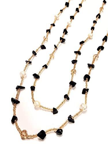 Laura Loison bijoux- Collana lunga per Donna con perle e pietre naturali