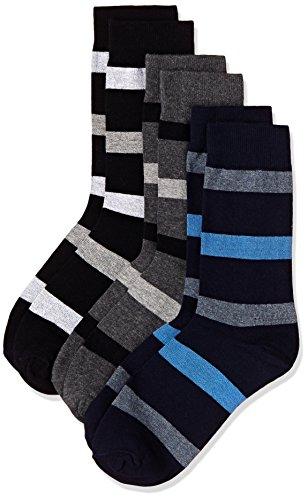 Amazon Brand - Symbol Men's Striped Calf Socks (Combo Pack of 3)