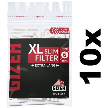Gizeh XL Slim Filter Ø 6mm extra Lang (10x100) Slimfilter