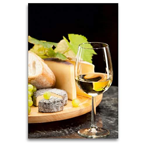 CALVENDO Premium Textil-Leinwand 80 x 120 cm Hoch-Format Weisswein mit Käseplatte Trauben, Leinwanddruck von Wolfgang Steiner